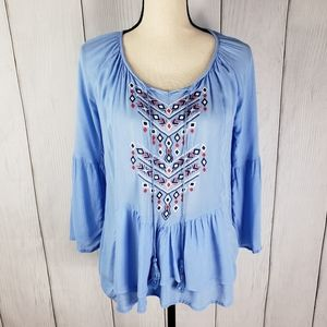 One World Embroidered Peasant Top